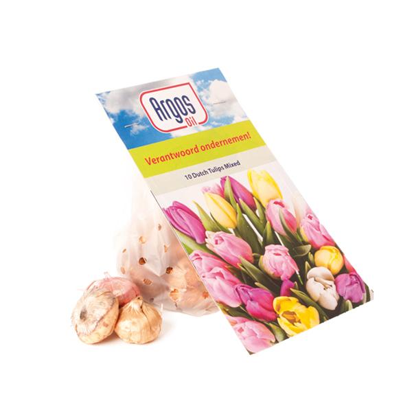 Bloembollen in zakje met bloemenkaart