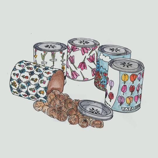kokers medium met bloembollen