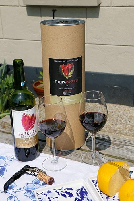 wijn en tulpen koker