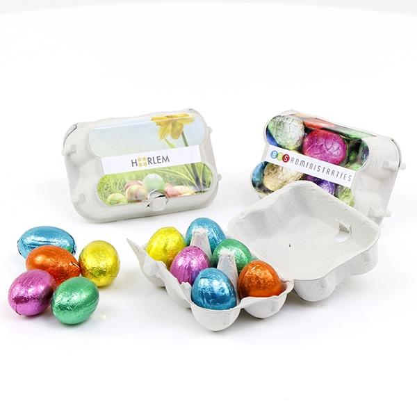 eierdoosje met chocolade eitjes