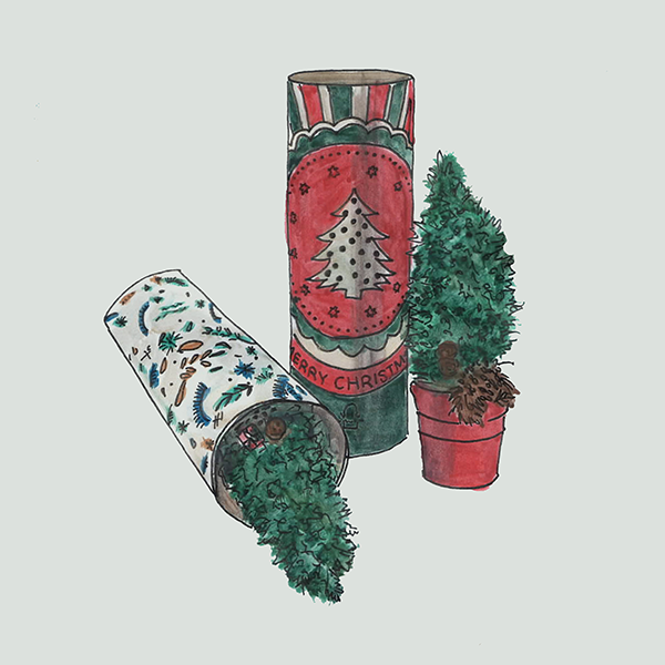kerstboom met fullcolor koker