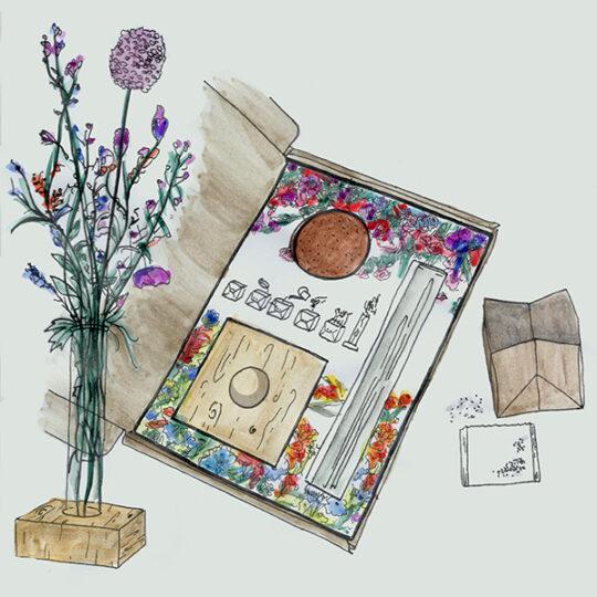 glazen buisje met zaad als brievenbusgeschenk