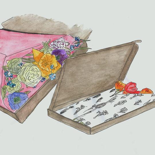 verse bloemen over de post
