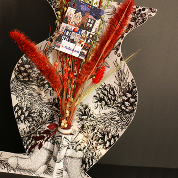 bureauvaas kerst droogbloemen