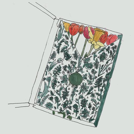 verse bloemen door de brievenbus